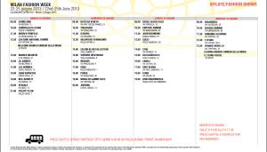 Calendar Milan Fashion week