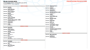 Calendar Milan Fashion week
